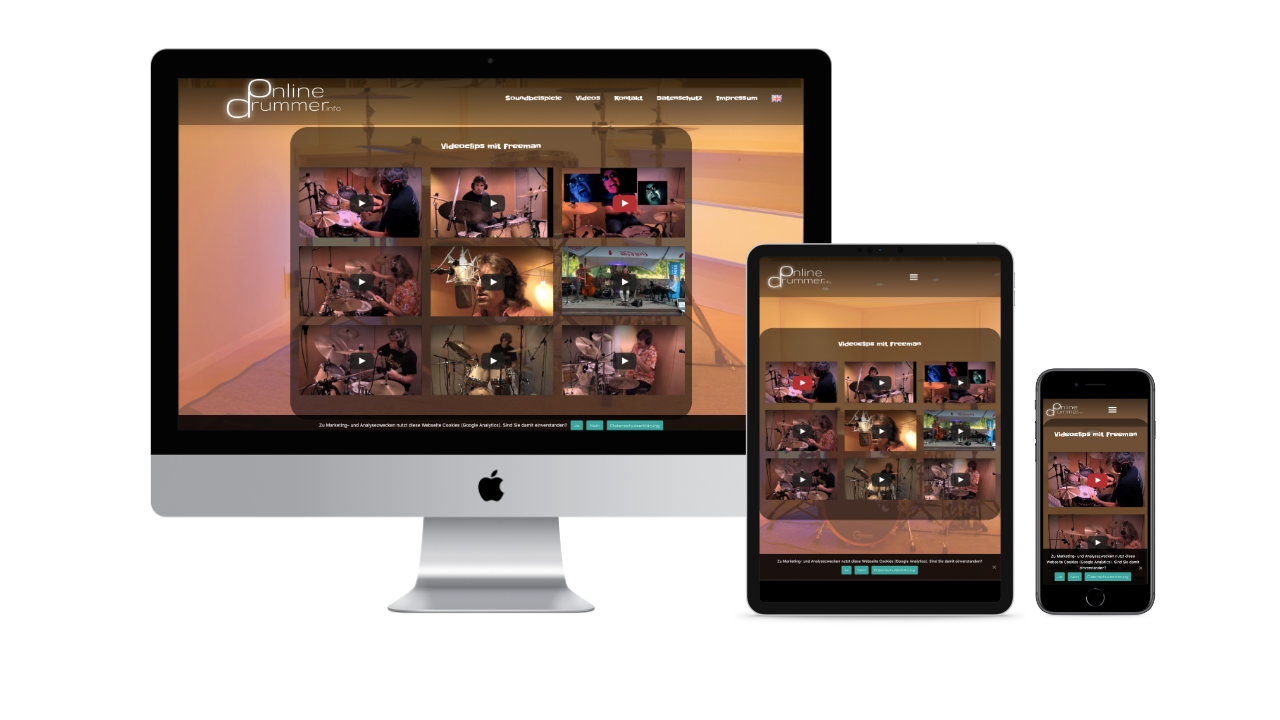 Onlinedrummer.info WordPress Webseite, individuelles Webdesign